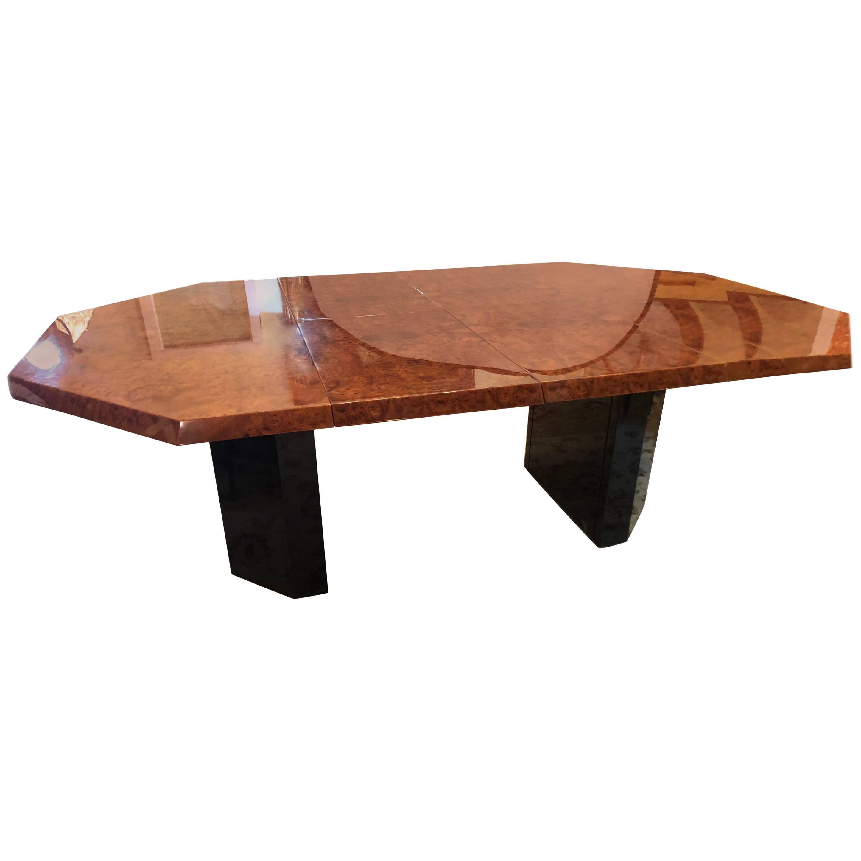 Mid-century Milo Baughman Style Burl Walnut Octagonal Dining Table