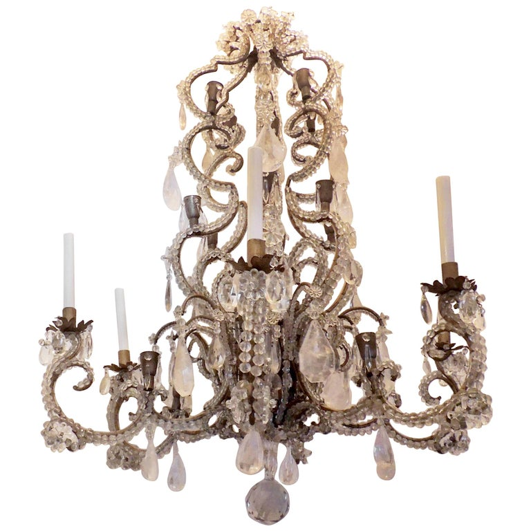 Wonderful Large French Bagues Bronze Beaded Rock Crystal 36 Light Chandelier For Sale