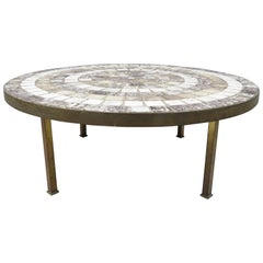 Midcentury Mosaic Tile Top Bronze Base Round Coffee Table after Roger Capron