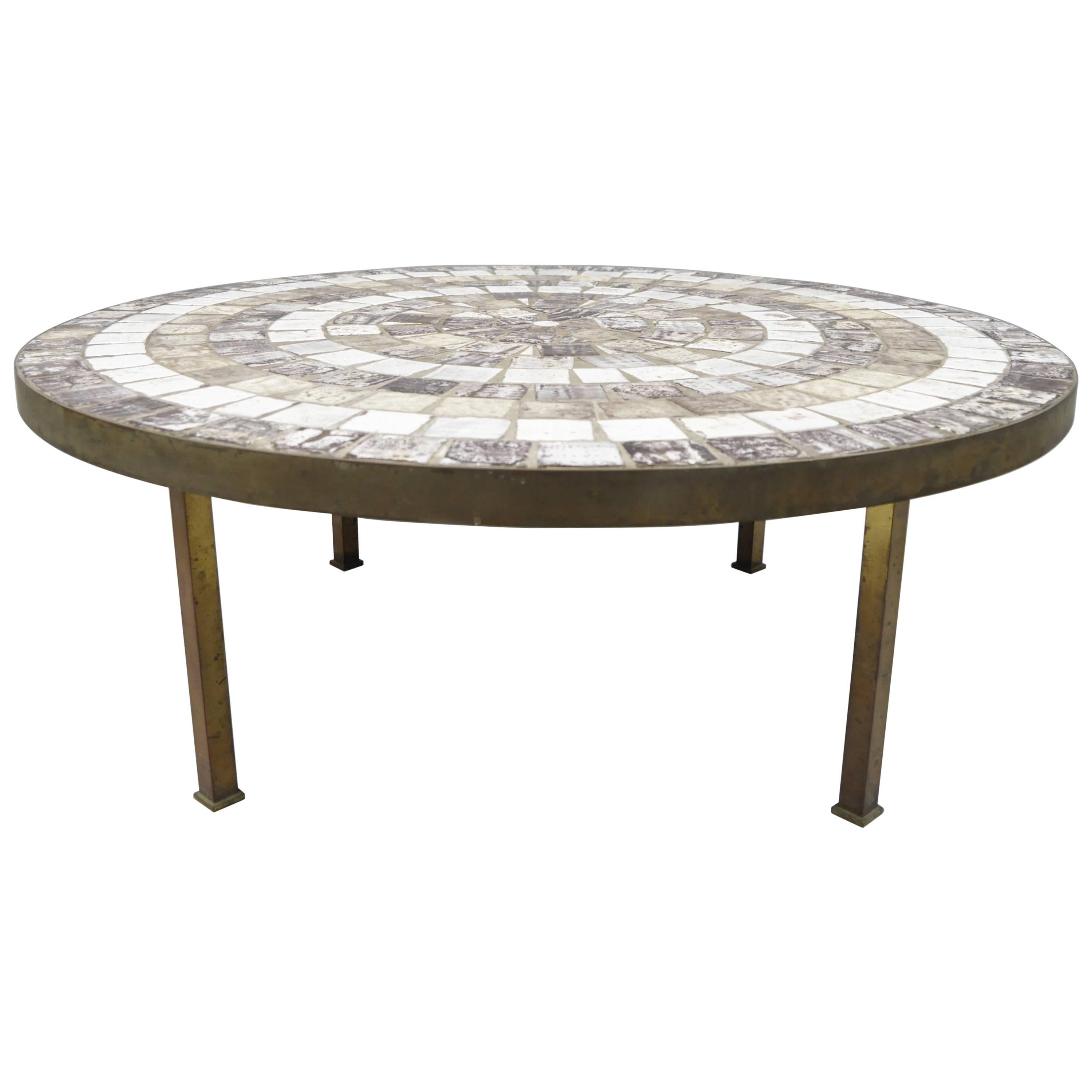 Bon Midcentury Mosaic Tile Top Bronze Base Round Coffee Table After Roger  Capron For Sale