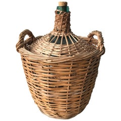 Midcentury French Wicker Demijohn Bottle Basket