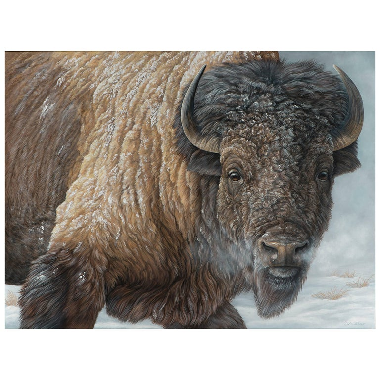 """Winter's Breath"" Bison Painting by Anna Widmer For Sale"