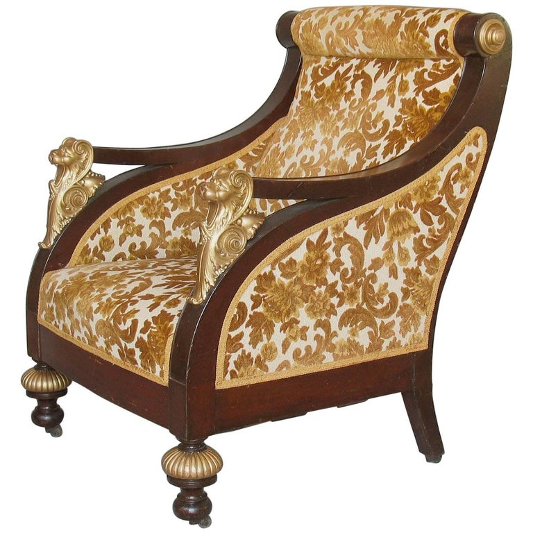 American Mahogany Parcel-Gilt Bergère Armchair, New York,  circa 1880 For Sale