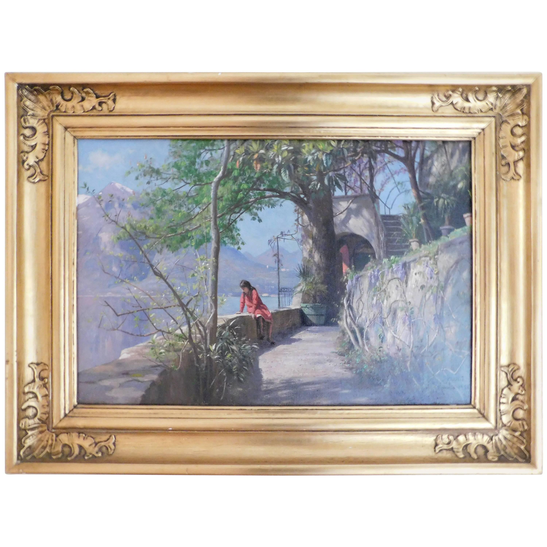 Peder Monsted Summer Day in Varenna, Oil on Canvas, Dated 1921