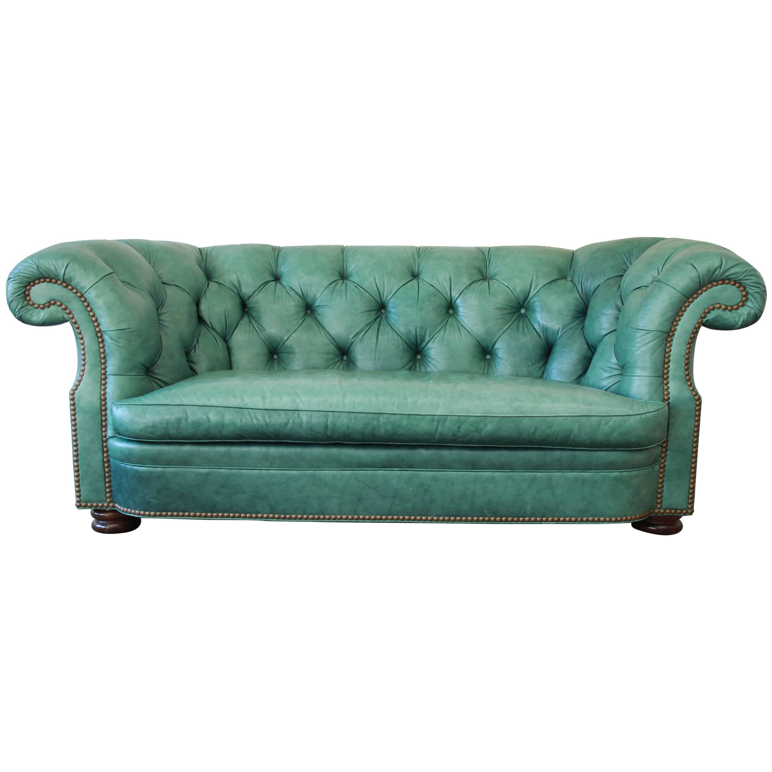 Vintage Teal Tufted Leather Chesterfield Sofa By Hancock U0026 Moore For Sale