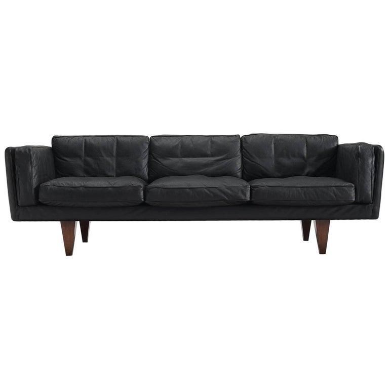 Illum Wikkelsø Fully Restored Sofa in Black Leather