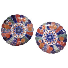 Fine Pair of 19th Century Meiji Period Japanese Scalloped Imari Pottery Dishes