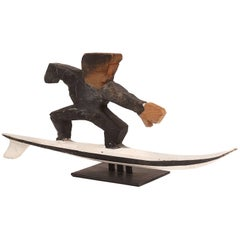 Folk Art Wood Surfer Sculpture