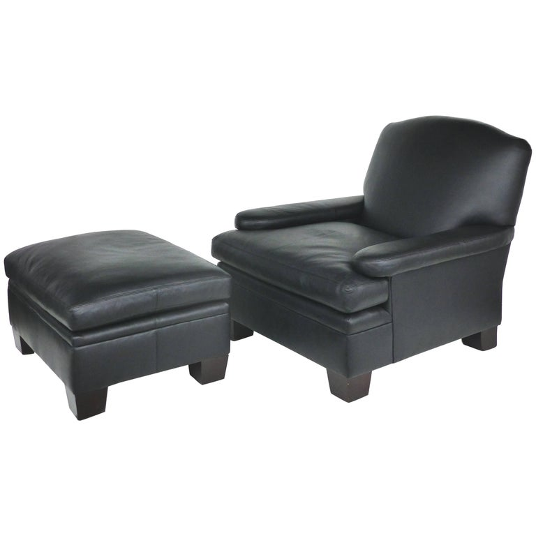 Ralph Lauren London Leather Club Chair With Matching Ottoman For