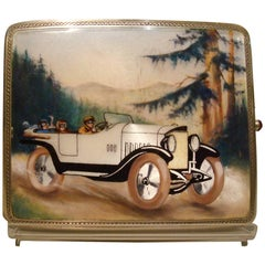 Sterling Silver and Enamel Cigarette Case, Box Mercedes Car, Automobilia, 1920s
