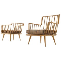 French Set of Two Sculptural Lounge Chairs