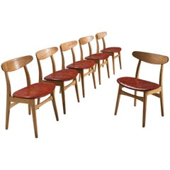 Hans J. Wegner Set of Six Dining Chairs with Original Red Leather