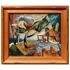 William Sanderson Colorado/New York Surrealist, Oil on Board, circa 1940s