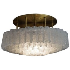 Large 1960s Doria Glass Tube Chandelier with Brass, Flush Mount, Made in Germany