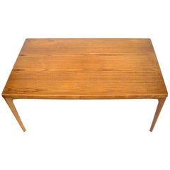 Midcentury Danish Teak Dining Table with Pull-Out Leaves by Henning Kjærnulf
