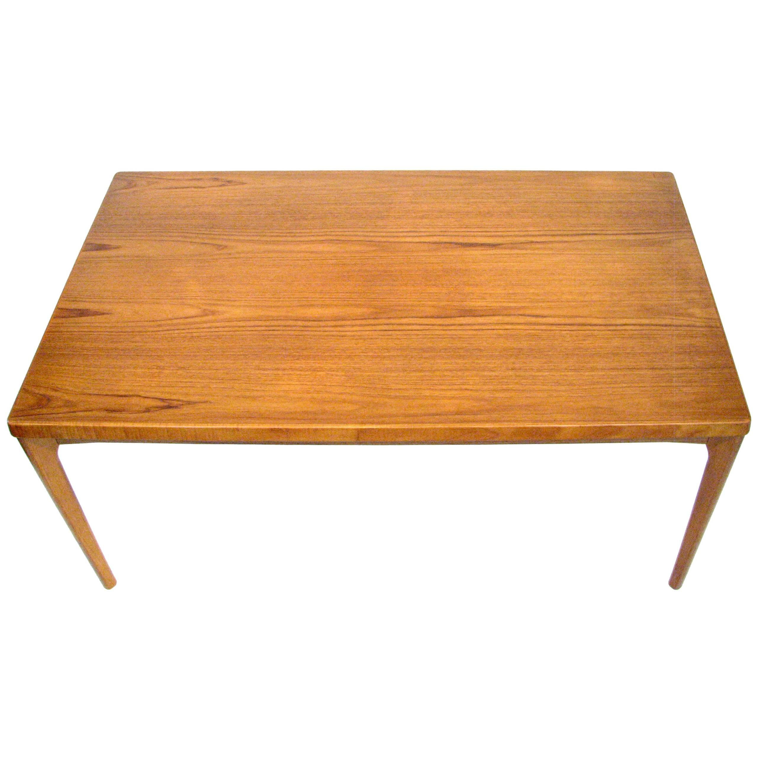 Midcentury Danish Teak Dining Table With Pull Out Leaves By Henning  Kjærnulf For Sale
