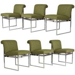Set of Six Mid-Century Modern Milo Baughman Style Dining Chairs