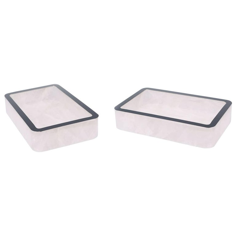 Decorative Boxes And Trays : Two rock crystal quartz trays for sale at stdibs
