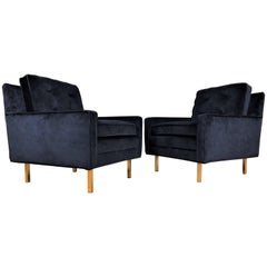 Pair of Mid-Century Modern Tuxedo Lounge Chairs in Black Velvet with Brass Legs