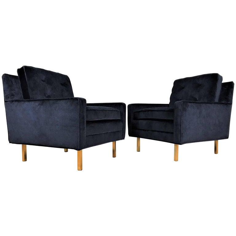 Pair of Mid-Century Modern Tuxedo Lounge Chairs in Black Velvet with Brass Legs