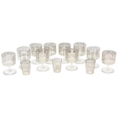 Set of 13 Vintage Silver Lined Geometric Cordials/Barware