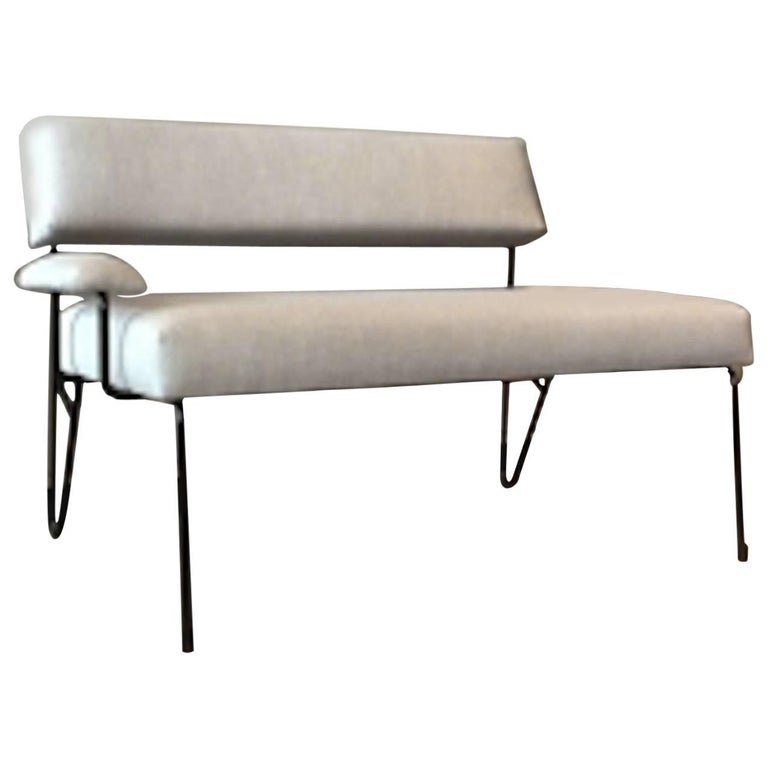 Alex Outdoor Upholstered Stainless Steel Powder Coated Lounge Settee Club Bench
