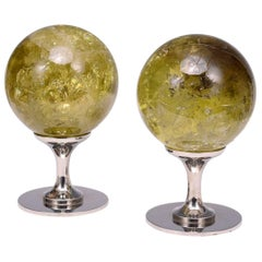 Group of Two Topaz Rock Crystal Quartz Balls
