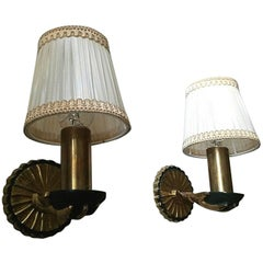 Elegant French Neoclassical Gilt Bonze Child Hands Sconces, Jansen/Baguès Style