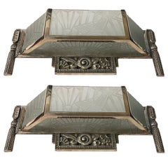 Pair of French Art Deco Sconces with Stunning Deco Details