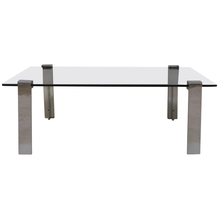 Gerald McCabe Polished Steel and Smoked Rectangular Glass Cocktail Table