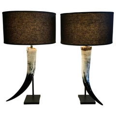 Pair of Authentic Texas Longhorn and Steel Table Lamps, Artisan Crafted
