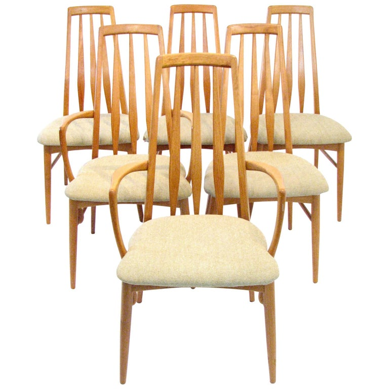 "Six Mid-Century Danish Teak ""Eva"" Dining Chairs by Neils Koefoed For Sale"