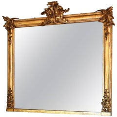 19th Century Large French Giltwood Mantel Mirror