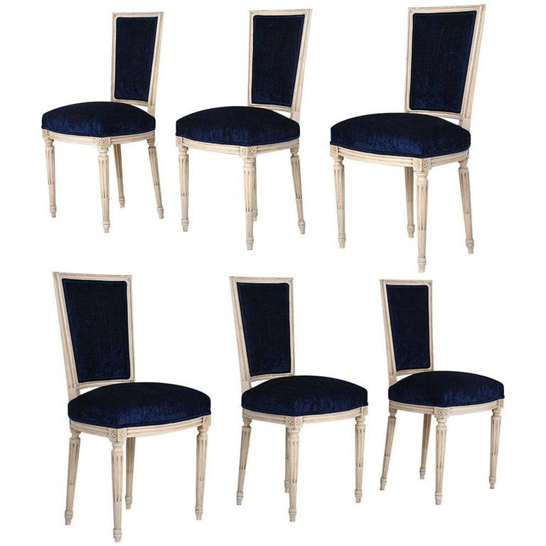 Set of Six French Louis XVI-Style Dining Chairs
