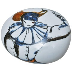 Porcelain Pebble Paperweight Commedia dell'Arte by Piero Fornasetti