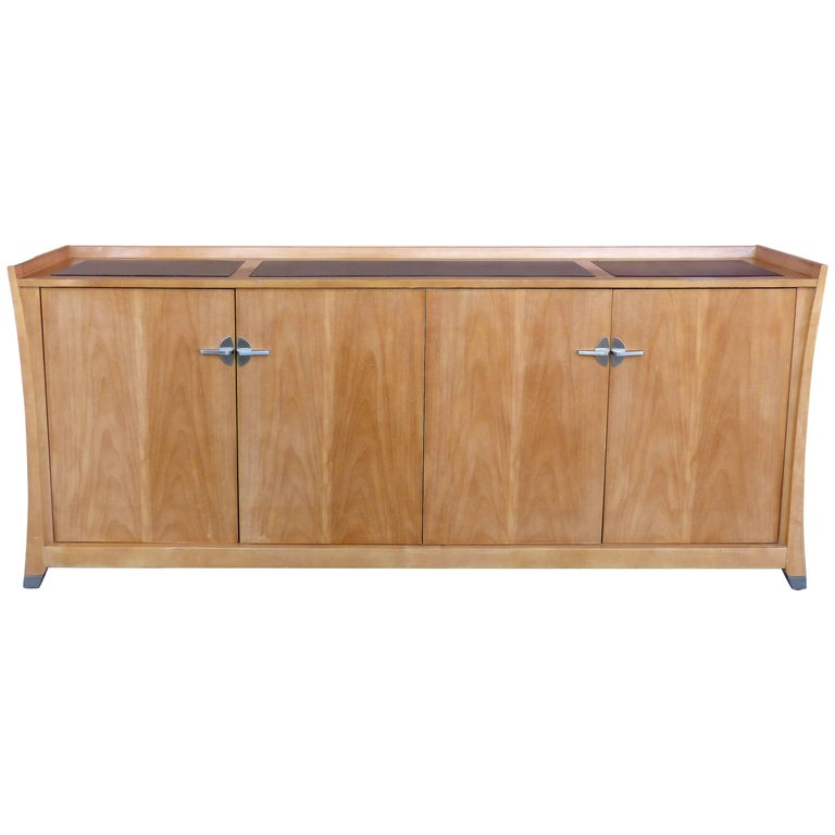 1970s Blonde Mahogany Sideboard by Jay Spectre for Century Furniture