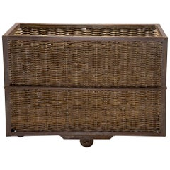 Unusual Industrial Wicker and Metal Trolley