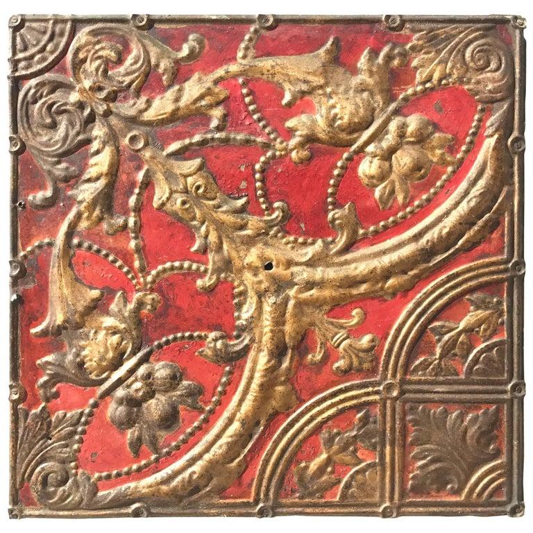 Antique Ceiling Tile as Decorative Wall Objet