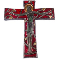 Large Gilt Wall Crucifix, Red, Green, Grey Glazed Ceramic, Handmade, Belgium