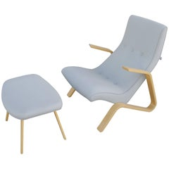 Modernica Grasshopper Chair and Ottoman by Eero Saarinen