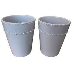 Pair of White Ceramic Vases/Cachepots
