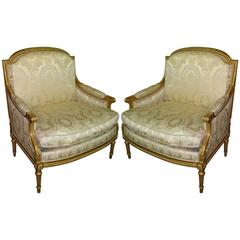 Fine Pair of Louis XVI Style Giltwood Marquise/Armchairs