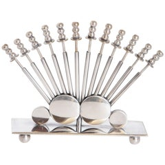 Machine Age Art Deco Eberle Silver Plate Cocktail Pick Set