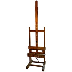 19th Century French Adjustable Vintage Wood Artists Easel