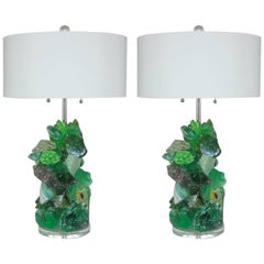 Green Tumbled Glass Lamps by Swank Lighting