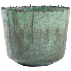 Brutalist Etruscan Style Torch Cut Patinated Copper Vessel by Marcello Fantoni