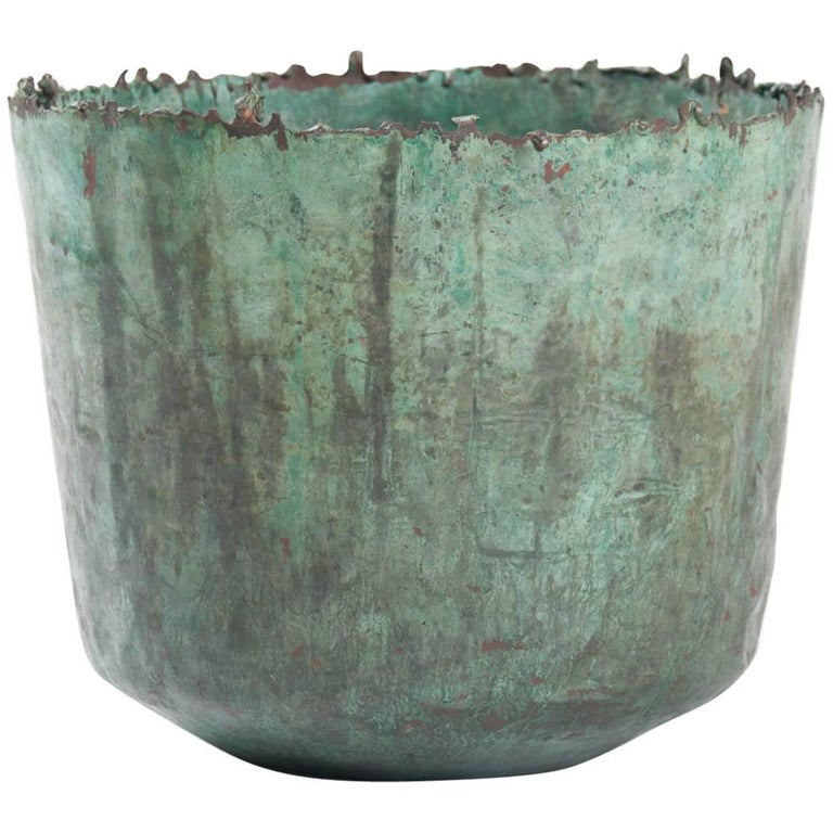 Brutalist Etruscan Style Torch Cut Patinated Copper Vessel by Marcello Fantoni For Sale