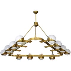 Triangolo Natural Brass and 12 Glass Orb Midcentury Style Chandelier