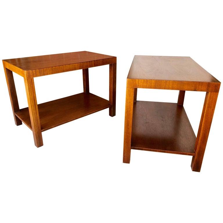 Pair of Robsjohn-Gibbings Walnut Side Tables For Sale