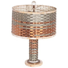Machine Age Art Deco Sandel Table Lamp, Mixed Metal, Lacquered Wood